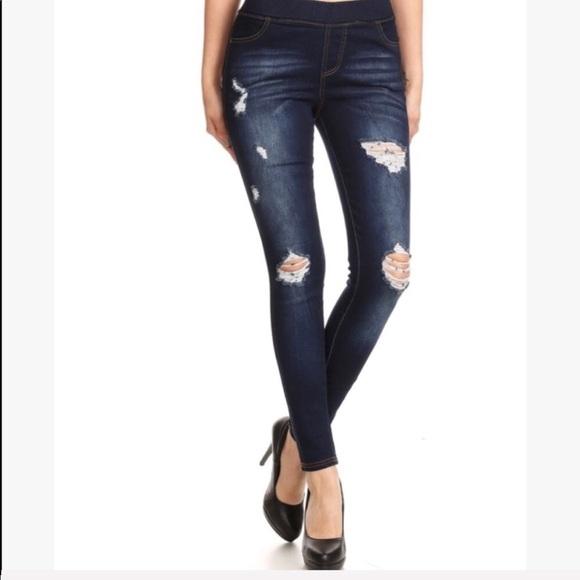 Evolving Always Denim - High Waisted Elastic Jeans Distressed